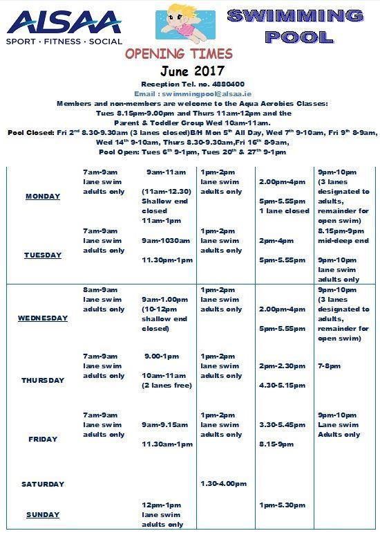 June Pool Timetable Alsaa