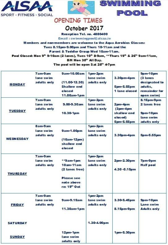October 2017 Swimming Pool timetable